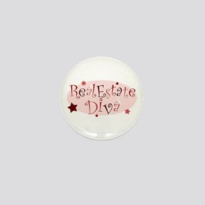 """Real Estate Diva"" [red] Mini Button"